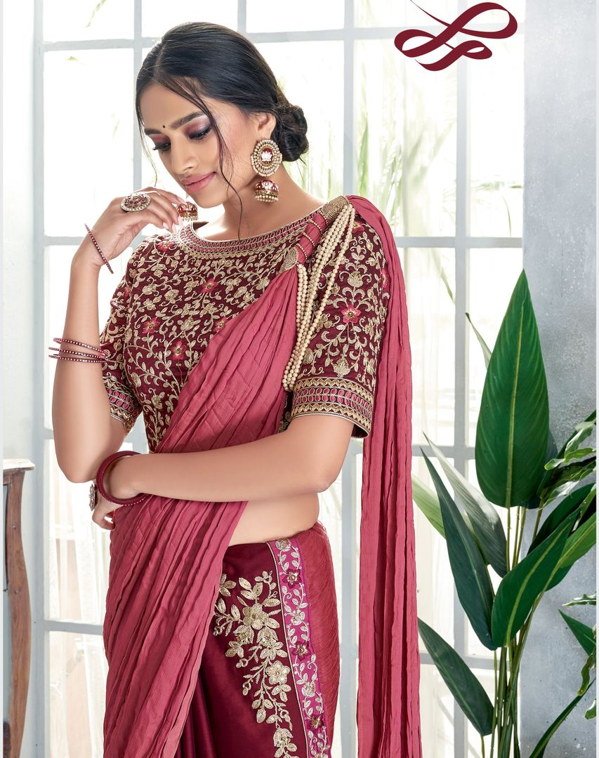 Maroon & Pink Color Half Crepe Silk & Half Crush Designer Festive Sarees NYF-4049 - YellowFashion.in