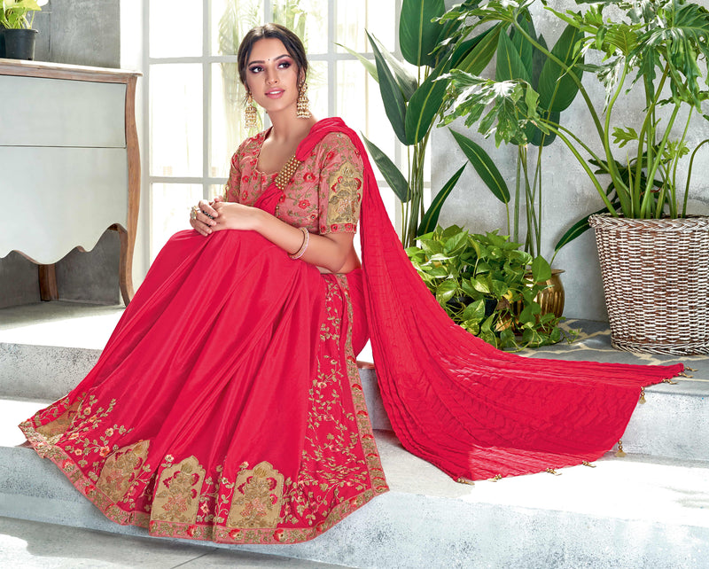 Pink Color Half Crepe Silk & Half Crush Designer Festive Sarees NYF-4050 - YellowFashion.in