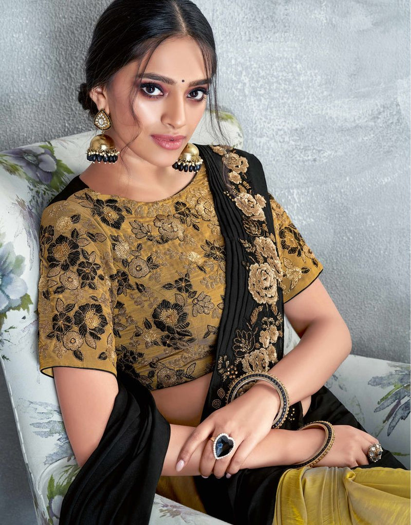 Black Color Raw Silk Designer Festive Sarees NYF-4051 - YellowFashion.in