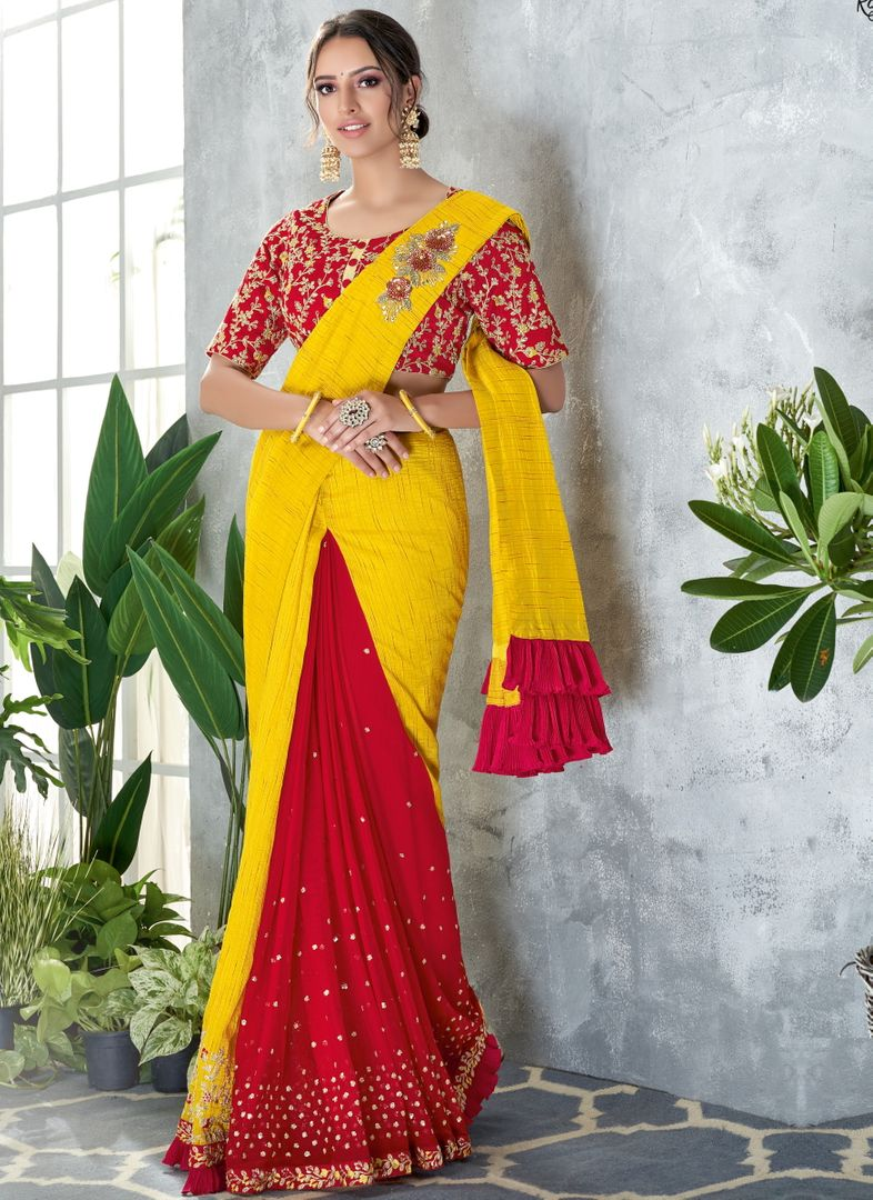 Yellow Color Silk Designer Festive Sarees NYF-4053 - YellowFashion.in
