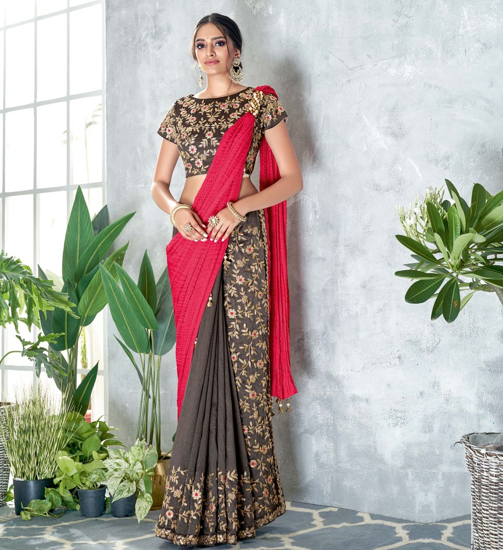 Grey & Pink Color Silk Designer Festive Sarees NYF-4055 - YellowFashion.in