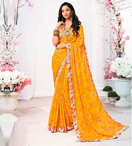Yellow Color Chiffon Casual Wear Saree -Ladli Bahu  Collection  YF#11317