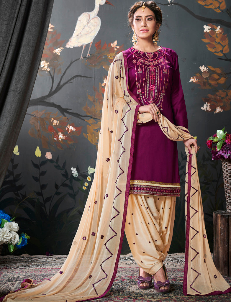 Magenta Color Cotton Silk UnStitched Dress Material : Vasuki Collection NYF-2010 - YellowFashion.in