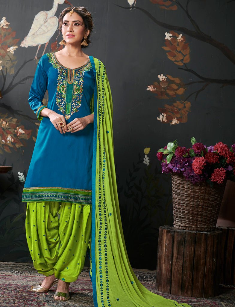 Blue Color Cotton Silk UnStitched Dress Material : Vasuki Collection NYF-2011 - YellowFashion.in