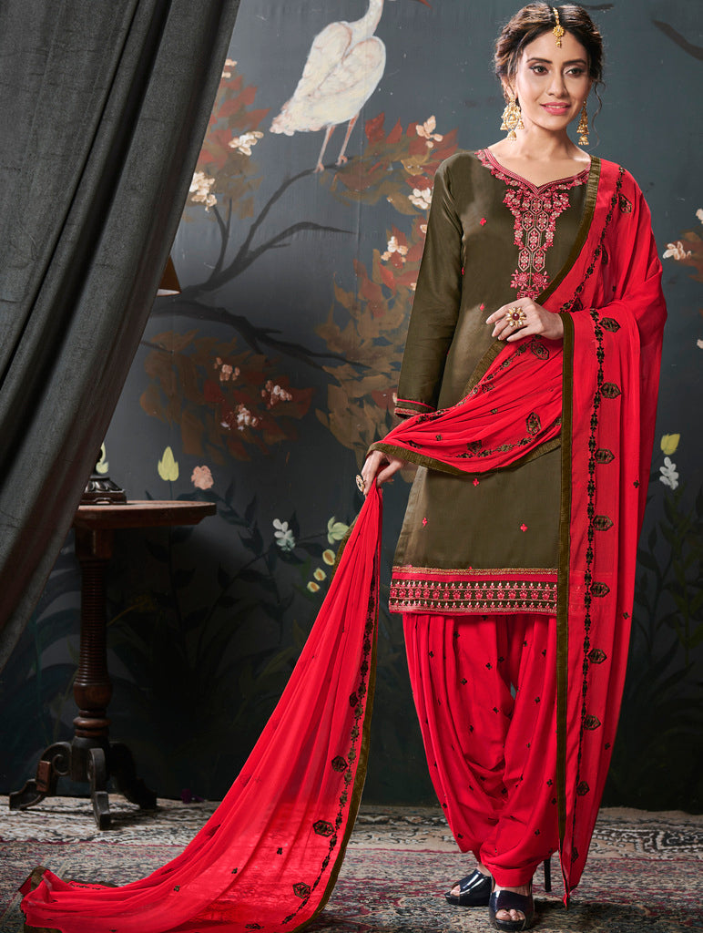 Olive Green Color Cotton Silk UnStitched Dress Material : Vasuki Collection NYF-2013 - YellowFashion.in