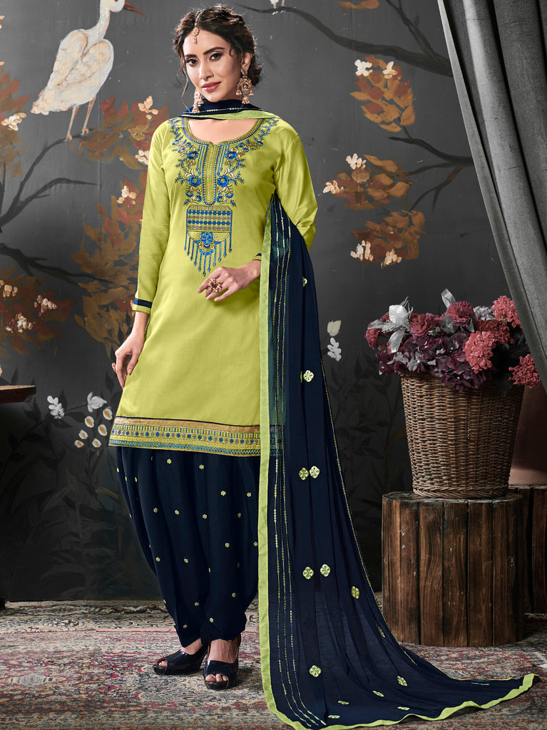 Green Color Cotton Silk UnStitched Dress Material : Vasuki Collection NYF-2014 - YellowFashion.in