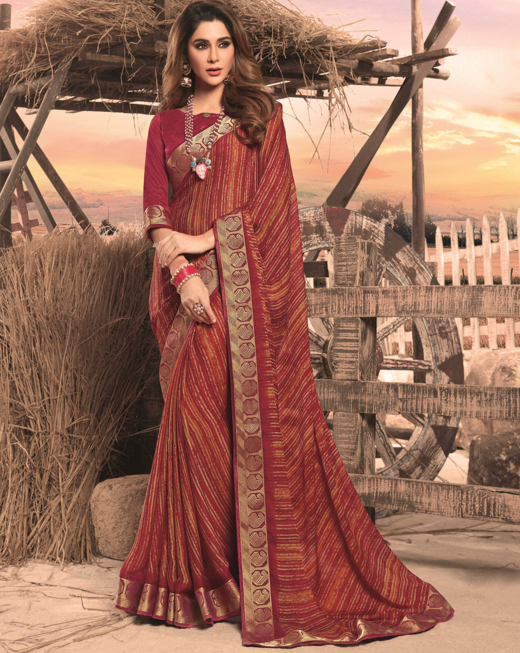 Maroon Color Georgette Digital Print Festive Sarees NYF-7844