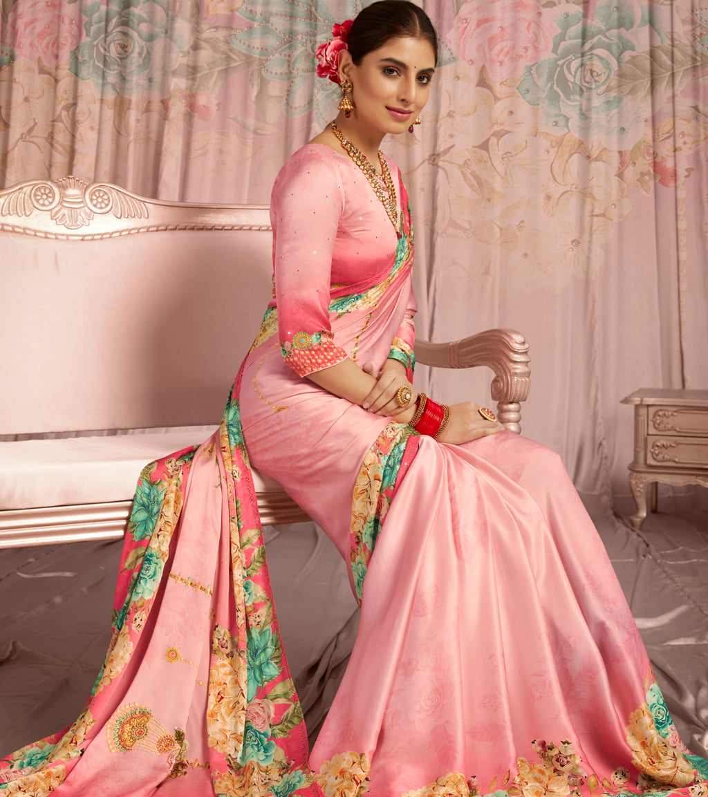Pink Color Crepe Silk Youthful Designer Sarees NYF-5270