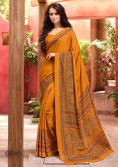 Mango Yellow Color Crepe Uniform Sarees : Varnika Collection  YF-50445