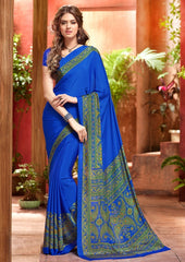 Blue Color Crepe Uniform Sarees : Varnika Collection  YF-50446