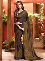 Dark Choclate Color Crepe Casual Wear Sarees : Jivanira Collection  YF-46919