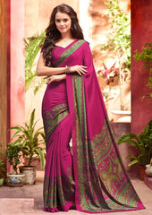 Magenta Color Crepe Uniform Sarees : Varnika Collection  YF-50447