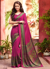 Rani Pink Color Crepe Casual Wear Sarees : Jivanira Collection  YF-46920