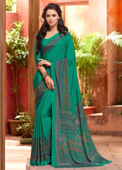 Green Color Crepe Uniform Sarees : Varnika Collection  YF-50448