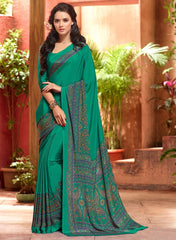 Green Color Crepe Casual Wear Sarees : Jivanira Collection  YF-46921