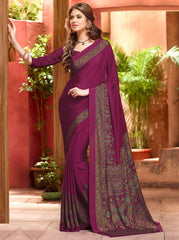 Magenta Color Crepe Casual Wear Sarees : Jivanira Collection  YF-46922