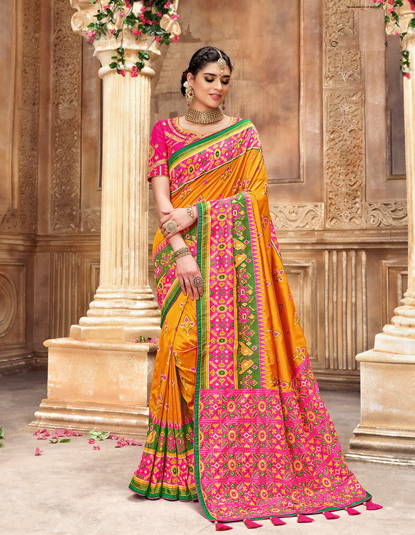 Yellow and Pink Color Patan Patola Silk Saree with 2 Blouse Piece (Plain and Heavy Work) Resham and Mirror Khatli Work Wedding  Saree- Garvi Gujarati  Collection YF#10433