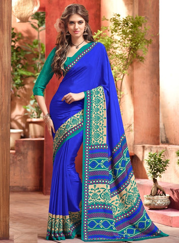 Blue Color Crepe Casual Wear Sarees : Jivanira Collection  YF-46923