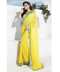 Lemon Yellow Color Georgette Casual Party Sarees : Vinita Collection  YF-37157