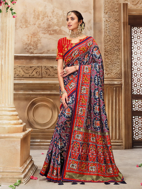 Navy Blue and Red Color Patan Patola Silk Saree with 2 Blouse Piece (Plain and Heavy Work) Resham and Mirror Khatli Work Wedding  Saree- Garvi Gujarati  Collection YF#10434