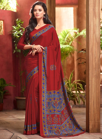Red Color Crepe Casual Wear Sarees : Jivanira Collection  YF-46930