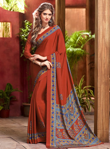 Shades Of Brown Color Crepe Casual Wear Sarees : Jivanira Collection  YF-46932