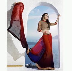 Red & Blue Color Georgette Casual Party Sarees : Vinita Collection  YF-37160