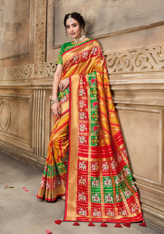 Yellow, Red and Green Color Patan Patola Silk Saree with 2 Blouse Piece (Plain and Heavy Work) Resham and Mirror Khatli Work Wedding  Saree- Garvi Gujarati  Collection YF#10437