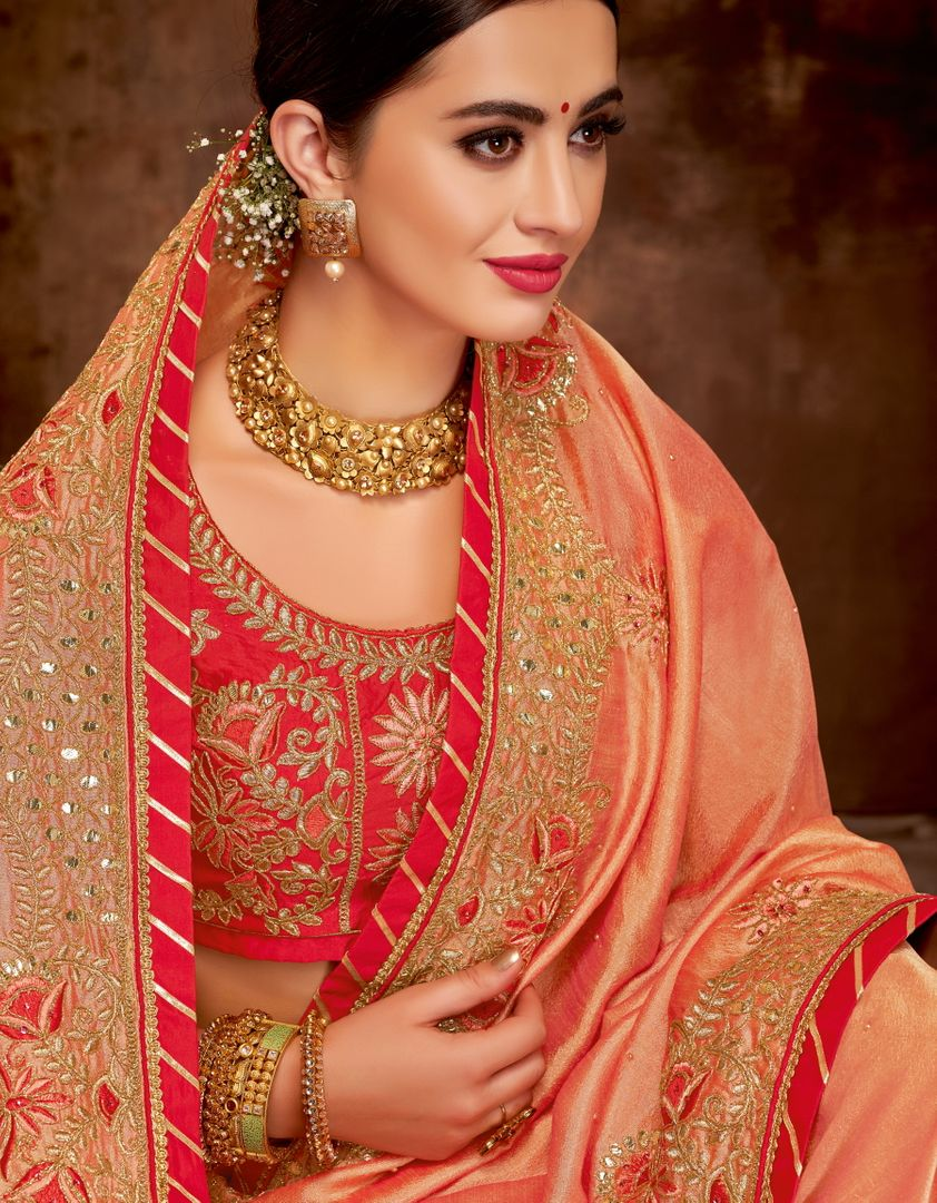 Peach Color Dual Tone Silk Lovely Designer Sarees With Semi Stitch Blouse NYF-5042