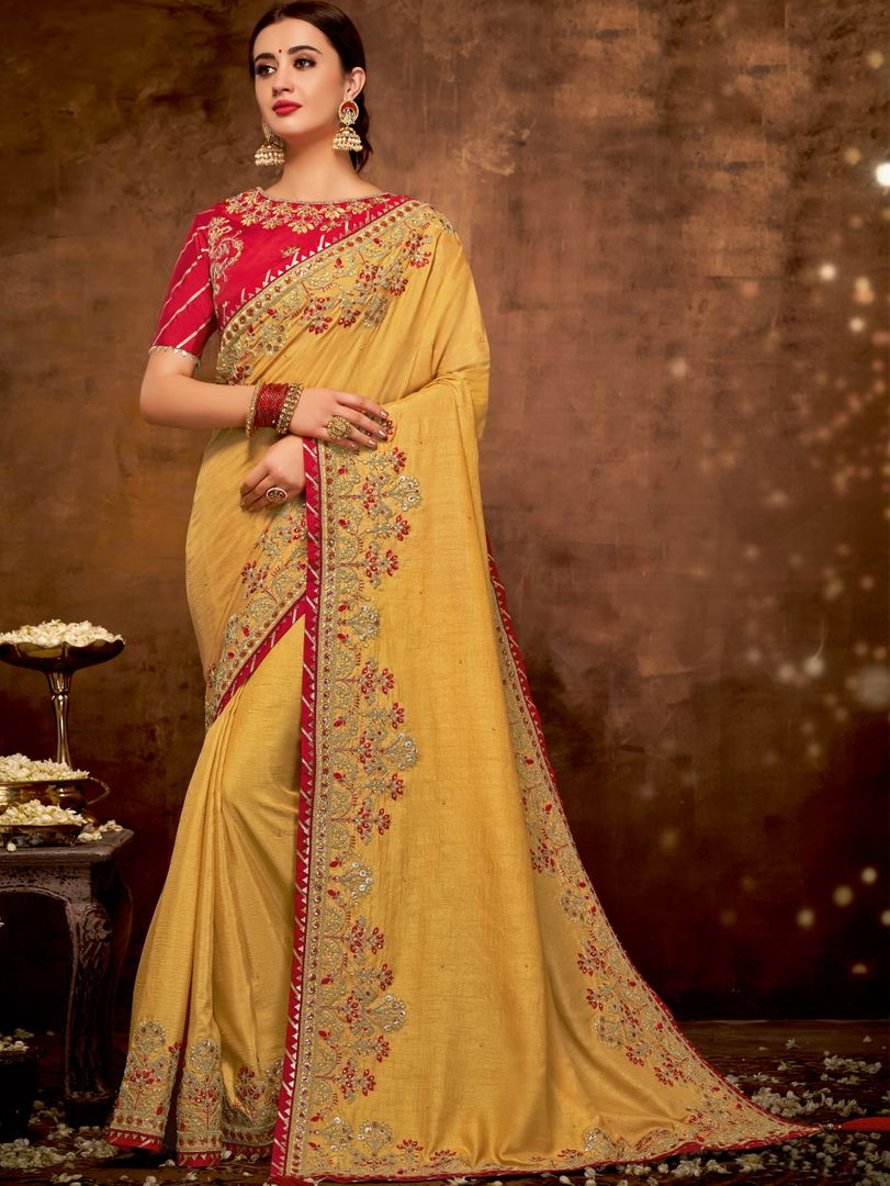 Yellow Color Dual Tone Silk Lovely Designer Sarees With Semi Stitch Blouse NYF-5043
