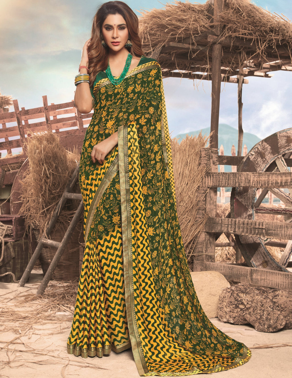 Yellow & Green Color Georgette Digital Print Festive Sarees NYF-7845