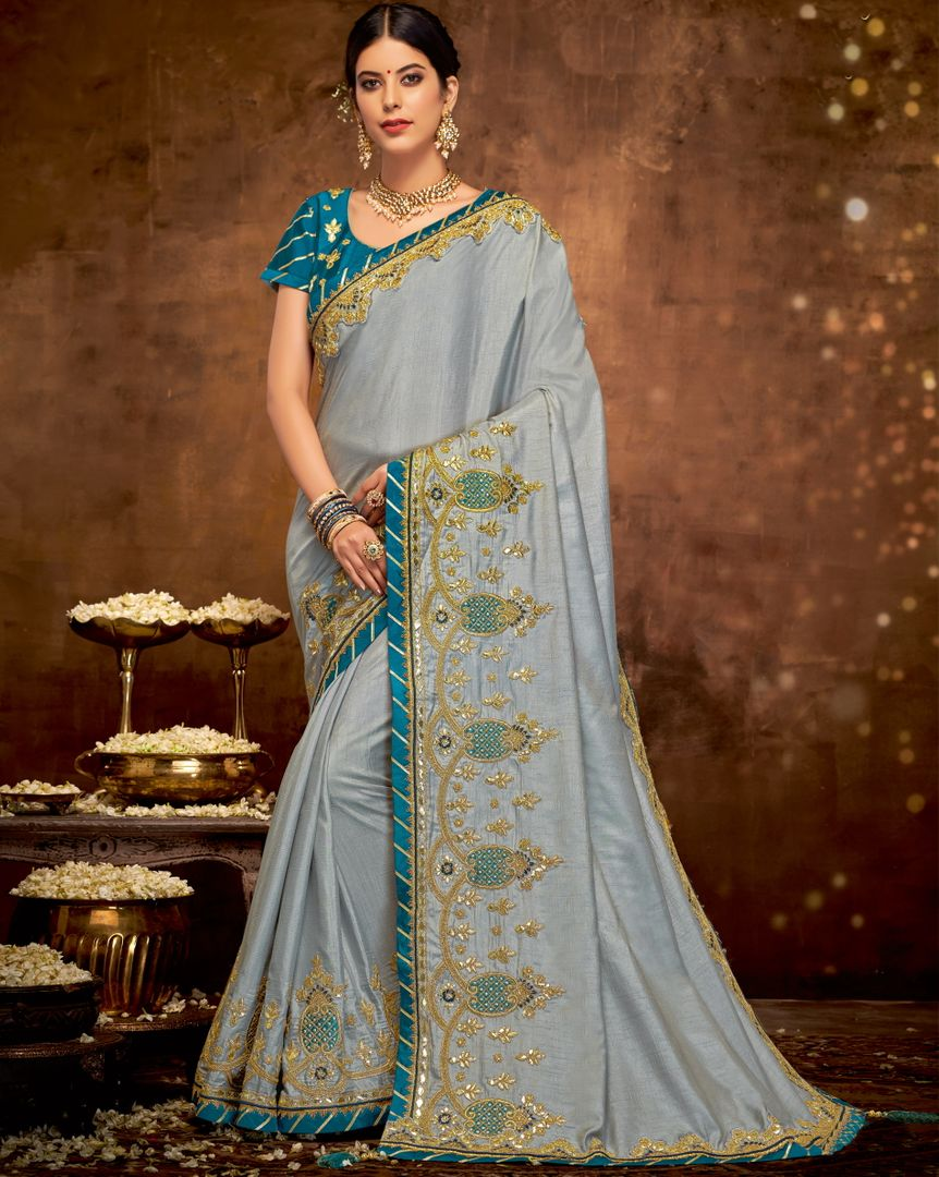Grey Color Dual Tone Silk Lovely Designer Sarees With Semi Stitch Blouse NYF-5044
