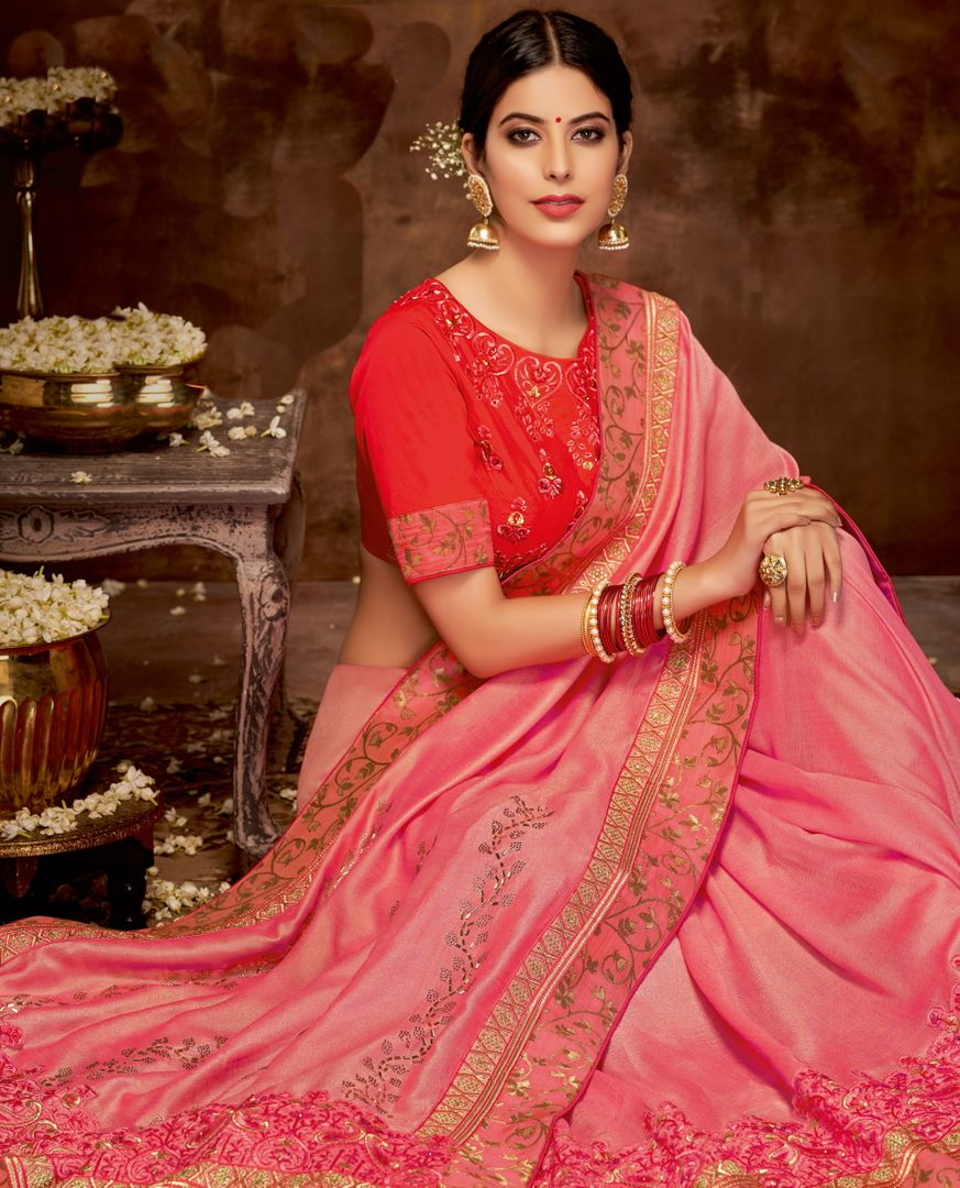 Pink Color Satin Georgette Lovely Designer Sarees With Semi Stitch Blouse NYF-5045