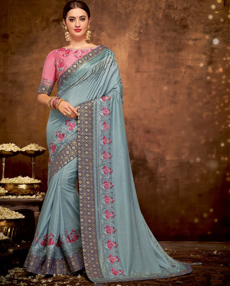 Grey Color Satin Silk Lovely Designer Sarees With Semi Stitch Blouse NYF-5046
