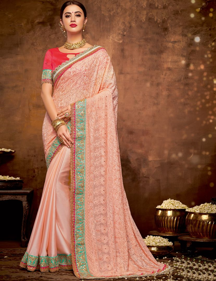 Peach Color Half Satin Georgette Half Georgette Lovely Designer Sarees With Semi Stitch Blouse NYF-5047