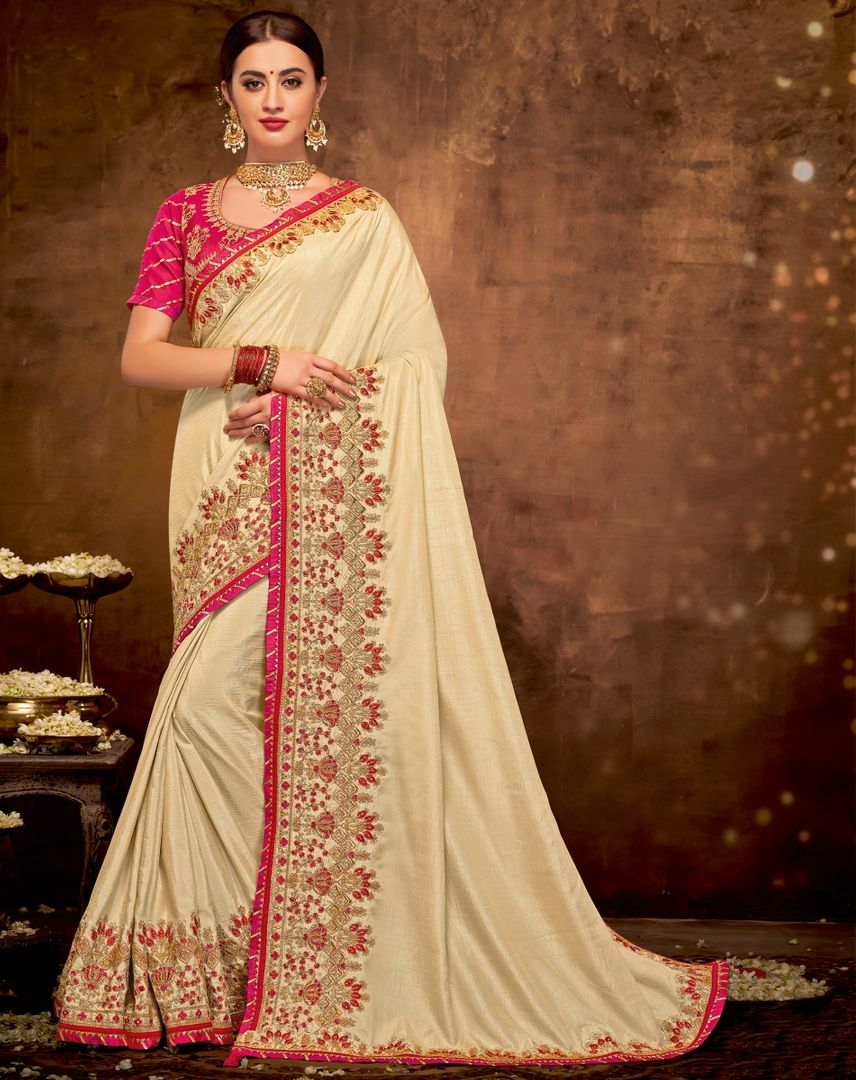 Cream Color Satin Silk Lovely Designer Sarees With Semi Stitch Blouse NYF-5048