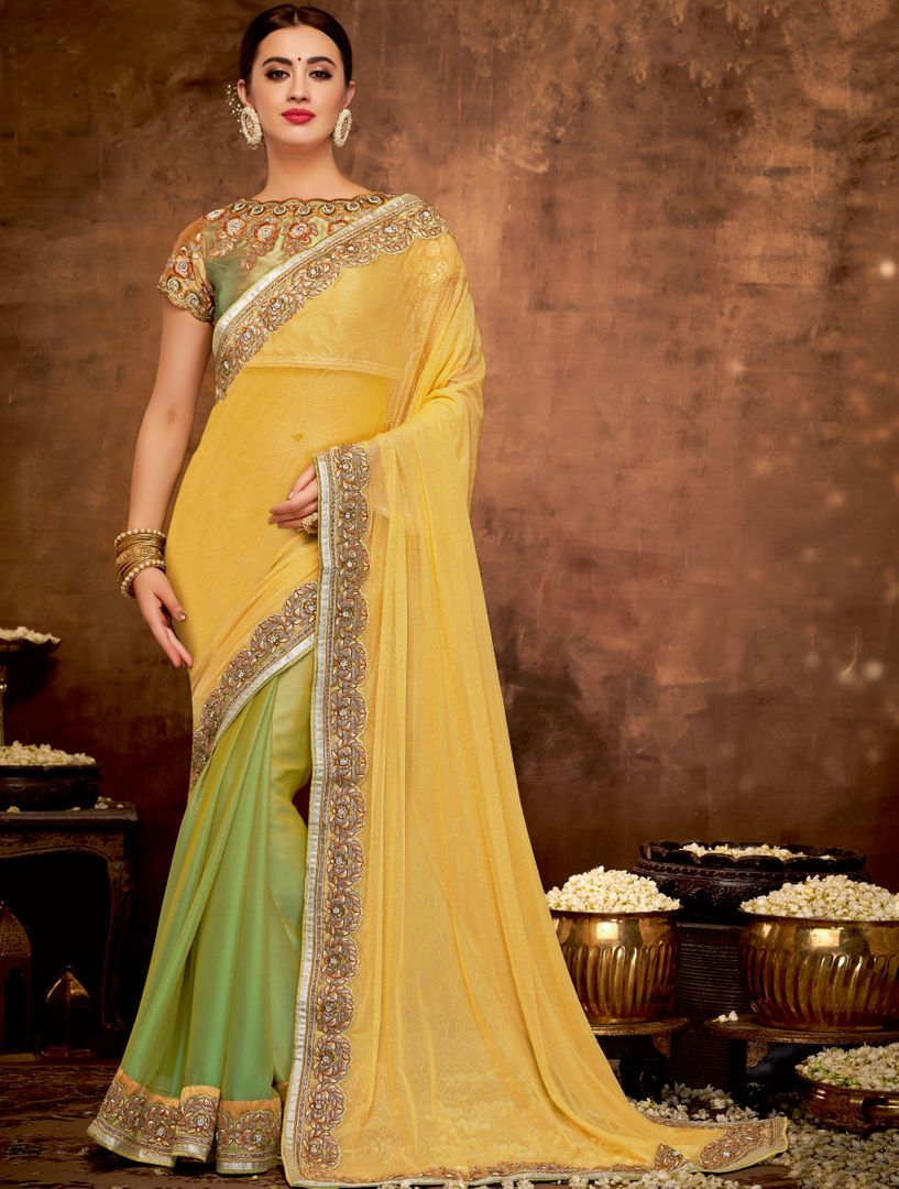 Yellow & Green Color Half Georgette & Half Crepe Silk Lovely Designer Sarees With Semi Stitch Blouse NYF-5049