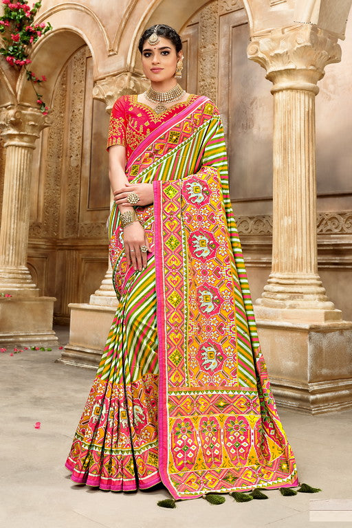 Green and Pink Color Patan Patola Silk Saree with 2 Blouse Piece (Plain and Heavy Work) Resham and Mirror Khatli Work Wedding  Saree- Garvi Gujarati  Collection YF#10446