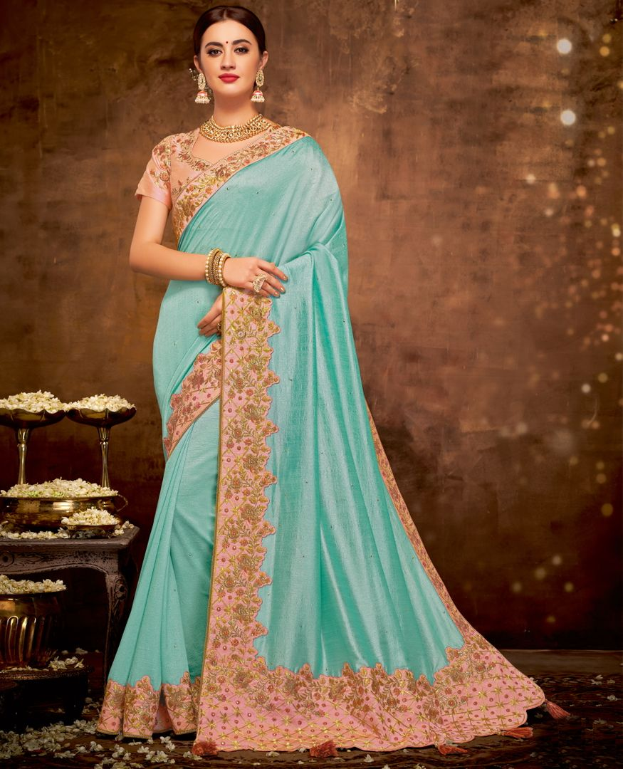 Aqua Blue Color Silk Georgette Lovely Designer Sarees With Semi Stitch Blouse NYF-5050