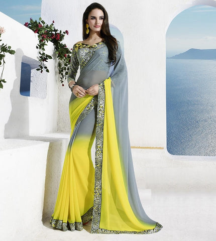 Grey & Lemon Yellow Color Georgette Casual Party Sarees : Vinita Collection  YF-37171