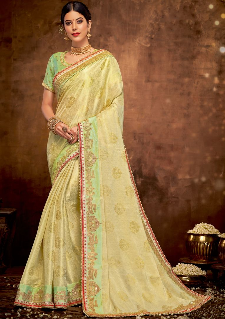 Pastel Green Color Jacquard Silk Lovely Designer Sarees With Semi Stitch Blouse NYF-5051