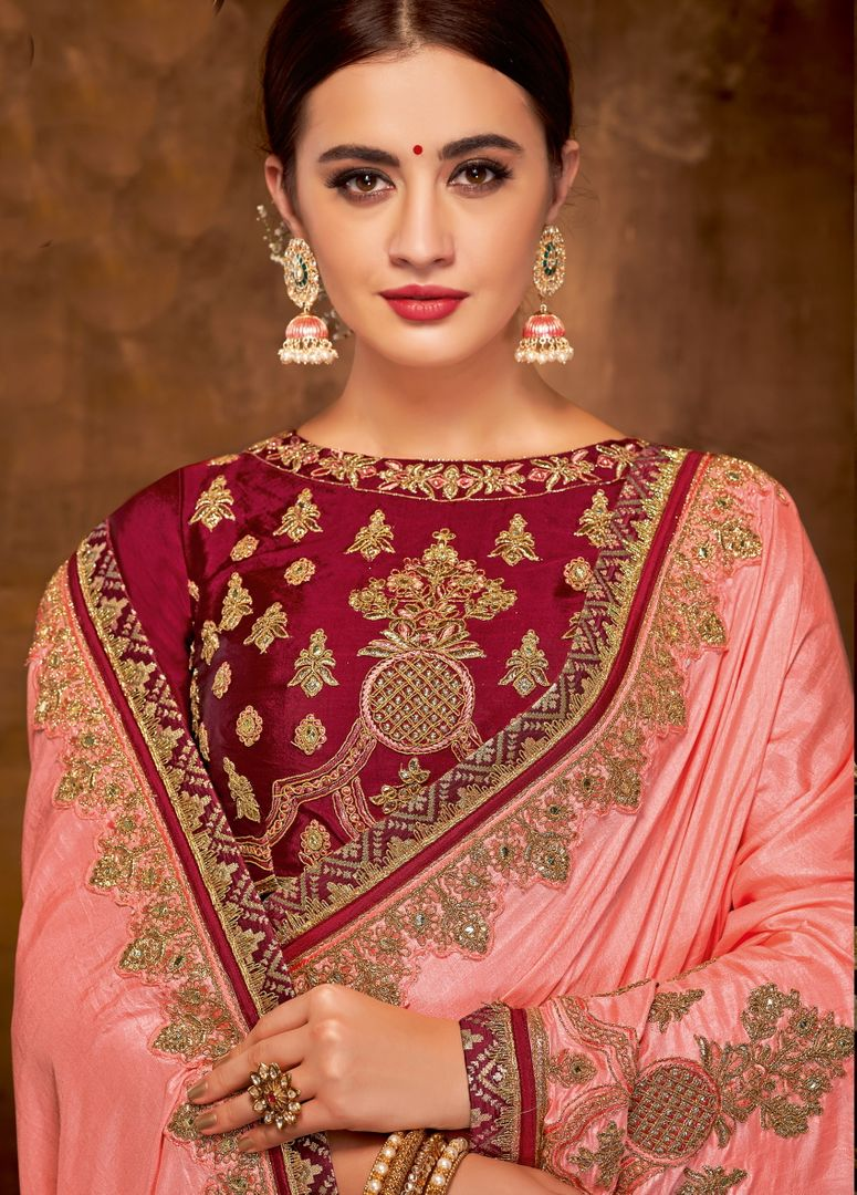 Pink Color Silk Georgette Lovely Designer Sarees With Semi Stitch Blouse NYF-5052