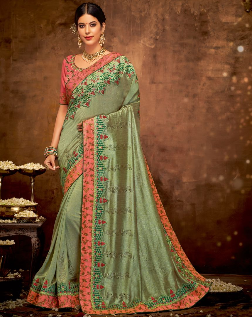 Mehendi Green Color Silk Georgette Lovely Designer Sarees With Semi Stitch Blouse NYF-5053