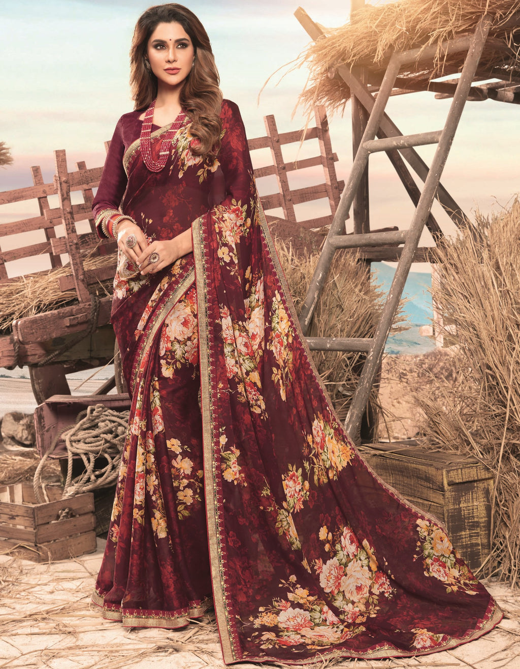 Maroon Color Georgette Digital Print Festive Sarees NYF-7846