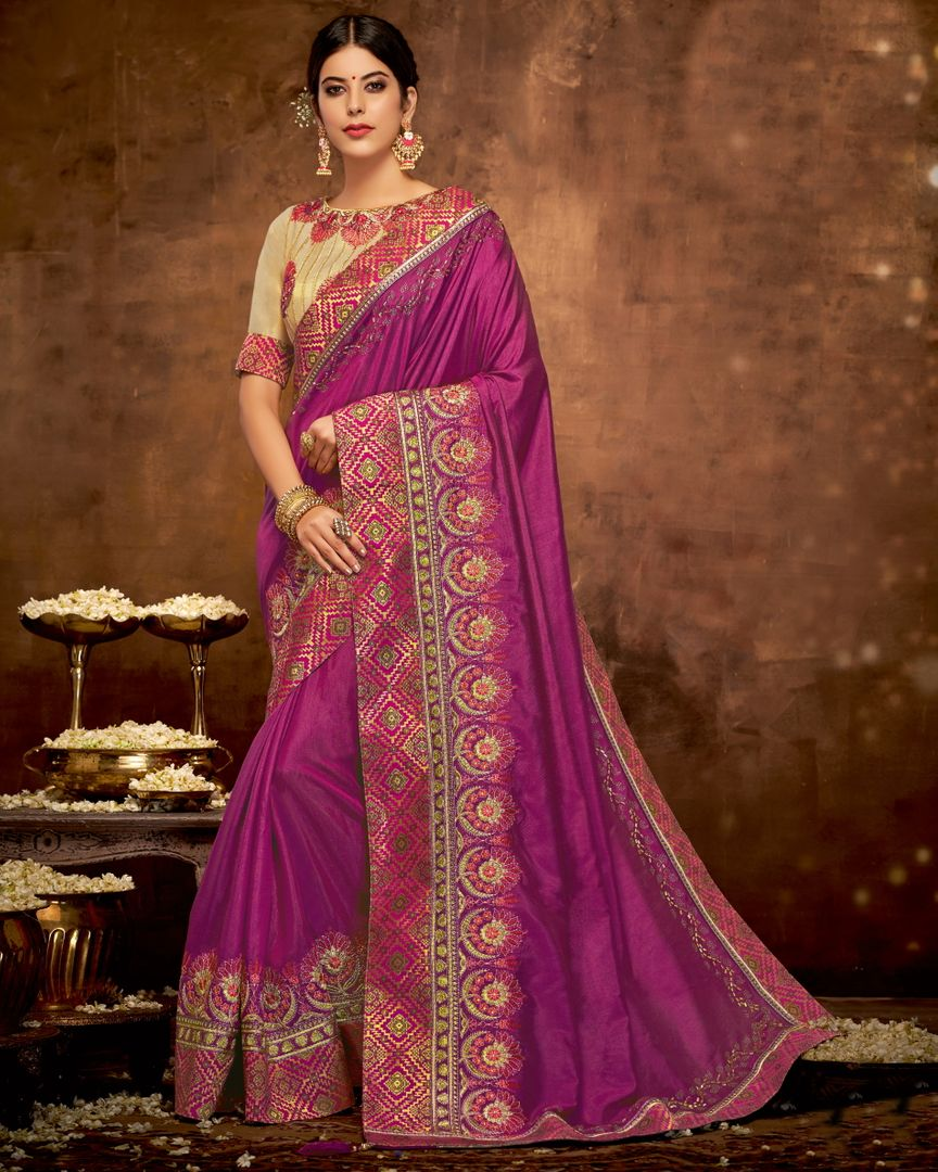 Purple Color Satin Silk Lovely Designer Sarees With Semi Stitch Blouse NYF-5054