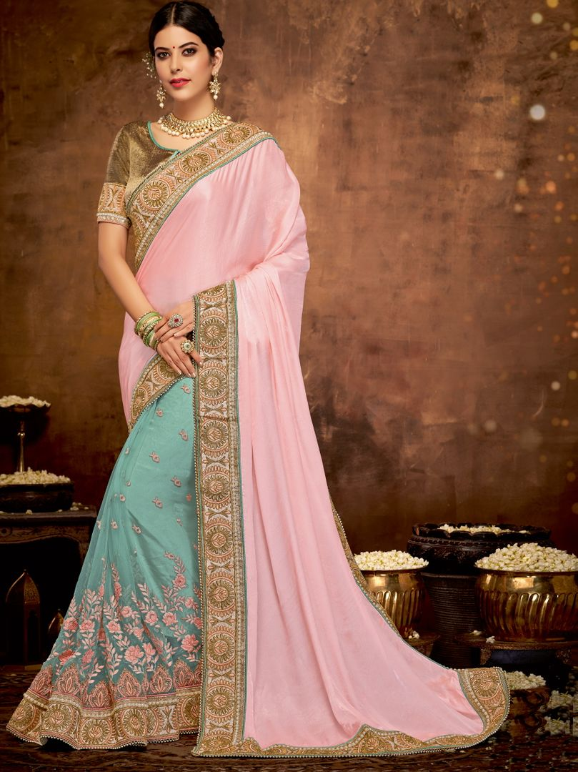 Pink & Aqua Blue Color Half Satin Georgette & Half Net Lovely Designer Sarees With Semi Stitch Blouse NYF-5055