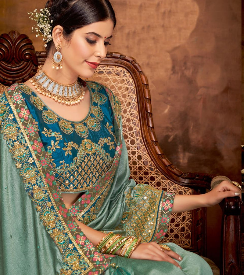 Shades Of Aqua Green Color Silk Georgette Lovely Designer Sarees With Semi Stitch Blouse NYF-5056