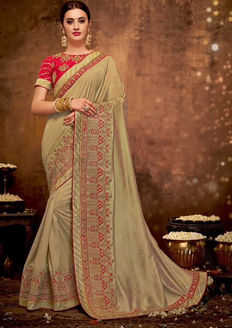 Light Coffee Color Silk Georgette Lovely Designer Sarees With Semi Stitch Blouse NYF-5057