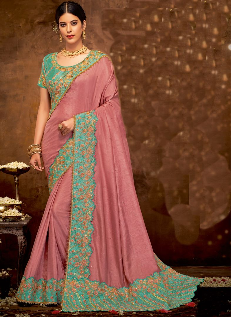 Pink Color Silk Georgette Lovely Designer Sarees With Semi Stitch Blouse NYF-5058