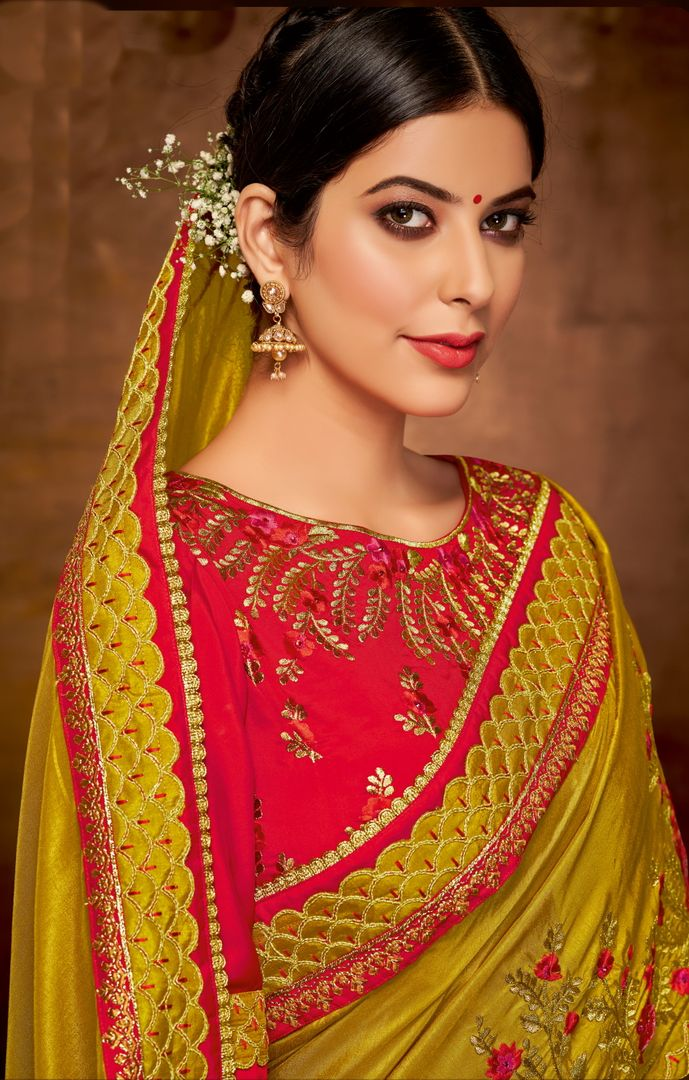 Mustard Yellow  Color Satin Georgette Lovely Designer Sarees With Semi Stitch Blouse NYF-5059